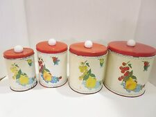 Metal Tin Kitchen Canisters Vintage Set of 4 Floral Design 1950s Shabby