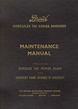 BRISTOL HERCULES 760 SERIES ENGINES - MAINTENANCE MANUAL - INCL. H.P. HERMES IV