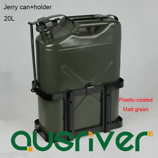 20L Portable Jerry Can+Holder 0.8mm Steel Plastic-coat Army Green Car/Motorbike