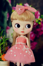Blythe Doll Outfit Clothing Peach Pink Dress + Hair Bow Set