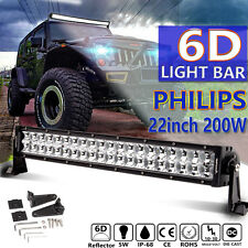 6D 22INCH 200W LED Work Light Bar Spot Flood 4WD Boat Driving Truck Offroad