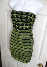 BEBE GREEN TRIBAL SWEATER BANDAGE DRESS NEW NWT XSMALL XS