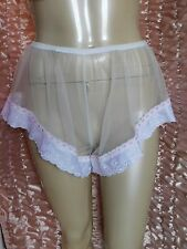 "Sheer White Nylon High Leg French Knickers Panties Bloomers 32"" - 38"" max 44"""