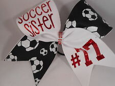 Soccer Sister (Custom COLOR lettering number ) Cheer Bow by BlingItOnCheerBowz