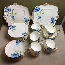 ANTIQUE Paragon England BLUE CROCUS DESSERT SET Cups Saucers Creamer Sugar Trays