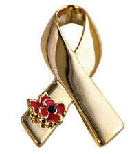 Luxury Gold Ribbon with Symbolic Day Poppy Flower Awareness Bow Pin Brooch BR396