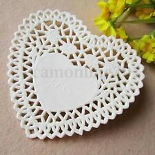 100x White Heart Paper 4''Lace Doily Wedding Birthday Celebration Party Catering