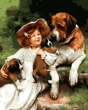 "New DIY Paint By Number 16*20"" kit Oil Painting On Canvas Love My Dog 1166"
