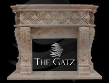 Heavy European Style Hand Carved Marble Fireplace Mantel, BV2
