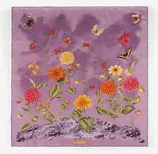 SALVATORE FERRAGAMO Light Purple Floral Butterfly Garden Print 100% Silk Scarf