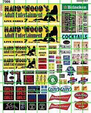 7006 DAVE'S DECAL SCALE HARDWOOD'S ADULT ENTERTAINMENT STRIP CLUB BEER BAR SIGNS