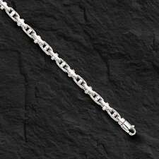 14k Solid White Gold Anchor Mariner Link Chain Bracelet 4 MM 14 grams  8""
