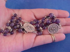 AMETHYST Gemstone Rosary Chaplet Angelic Crown of St MICHAEL the ARCHANGEL 6-8mm