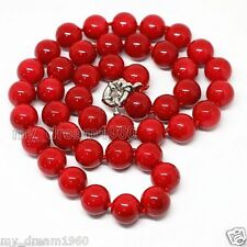 18'' Fashion Women 12mm Coral Red South Sea Shell Pearl Necklace