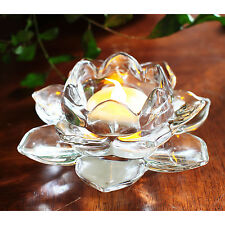 Romantic Transparent Glass Lotus Tealight candlesticks Wedding Candle Holder