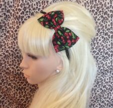 "NEW BLACK RED CHERRY FRUIT PRINT COTTON FABRIC 5"" SIDE BOW ALICE HAIR HEAD BAND"