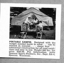 1962 Print Ad Spencer Sports Products Tent Camping Trailers Spencer,WI