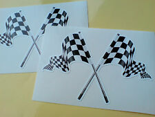 CROSSED CHEQUERED FLAGS Race & Rally F1 Decals Stickers 2 off 95mm