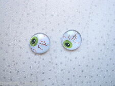 *DOMED GLASS SPOOKY EYEBALL* Stud 14mm SP Earrings HALLOWEEN White Green Eye