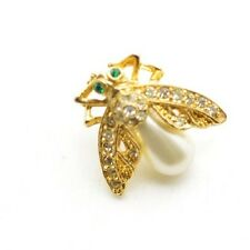 Vintage Insect Brooch Pin Bumble Bee Fly Pearl Jelly Belly Very Small!