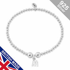 Trink Initial 'M' Letter Charm Sterling Silver Beaded Bracelet Top Gift/Present
