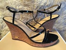 Michael Kors Kami Wedge Patent Black Leather High Shine Sandals Sz 11 New!