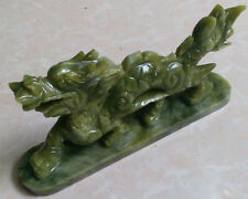 100% China's natural jade statues of hand-carved statues of dragons