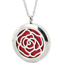 Rose Flower Aromatherapy Essential Oil Diffuser Locket Necklace Womens Pendant