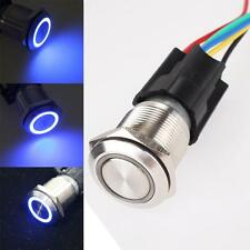 19mm 12V Car Blue LED Angel Eye Metal Push Button Toggle Switch ON/OFF Socket GZ