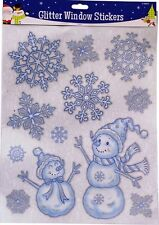 New Reusable Snowflake Christmas Window Stickers Glitter Decal Vinyl Decorations