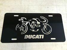 Ducati Bike Logo Car Tag Diamond Etched on Black Aluminum License Plate
