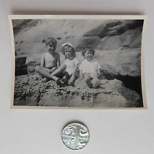 Family seaside holiday photograph c 1940s Boys and girls Beach rock pool