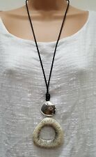 New Lagenlook Long Resin Beige Silver colour irregular circle Necklace Pendant