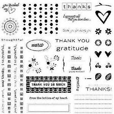 FISKARS Clear Stamps  THANK YOU  Huge 8x8 Set  MERCI