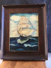ANTIQUE SHIP SAILING THE OCEAN OIL PAINTING BE ERLY HILLS ID ON VERSO SIGNED PAT