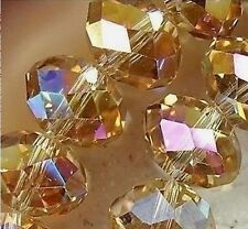 Hot Wholesale 6MM 98pcs AB Yellow Crystal Faceted Rondelle Loose Beads 11