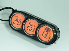 12/24V in Car voltage meter with in/out thermometer blue & orange back light