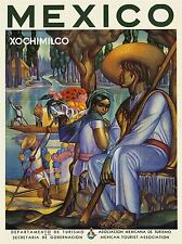 TRAVEL TOURISM MEXICO JUNGLE RIVER BOAT FLOWERS ART POSTER PRINT LV4221