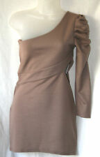 BOOHOO UK10 EU38 US6 JESSE ONE SHOULDER RUCHED BODYCON LONG-SLEEVED DRESS - NEW