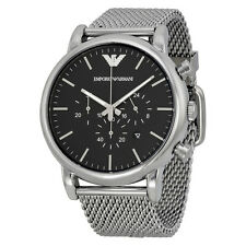 Emporio Armani Classic Chronograph Black Dial Stainless Steel Mesh Mens Watch