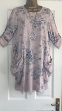 NEW ITALIAN LAGENLOOK PRINTED POCKET TUNIC TOP DRESS PINK FIT 12 14 16 18 C125