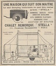 Z9202 Chalet Remorque STELLA -  Pubblicità d'epoca - 1929 Old advertising