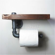 Vintage Industrial Style Iron Pipe Toilet Paper Holder Roller Wood Shelf Wall UK