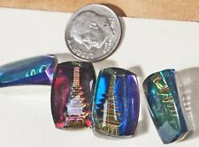 2 Vintage carved Pagoda Suphide 3 D Paperweight Glass stones Iridescent Purple P