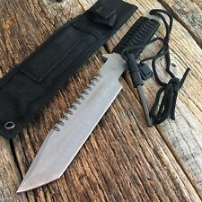 "11"" Hunting Tactical Combat Survival FIXED BLADE Knife w/Fire Starter Bowie -M"