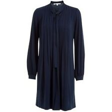 NEW + TAGS MAX STUDIO NAVY BLUE TIE NECK PLEATED JERSEY 70's DRESS SZ S RRP £55