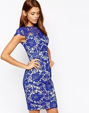 BNWT LIPSY VIP PENCIL DRESS WITH BLUE LACE APPLIQUE OVERLAY SIZE 10 RRP £115