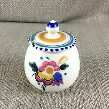 Vintage Poole Pottery Lidded Mustard Pot Hand Painted Art Deco Style Signed Vtg