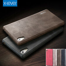 Black Vintage Genuine Leather Soft Slim Back Cover Case for Sony Xperia E5 S002