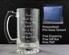 Personalised Glass Pint Tankard, Godfathers Gift